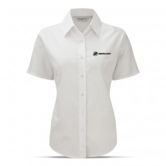 Women's business blouse in white, short sleeves