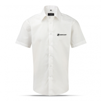 Men's business shirt in white, short sleeves