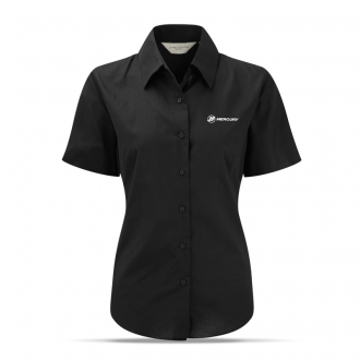 Women's business blouse in black, short sleeves