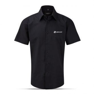 Men's business shirt in black, short sleeves