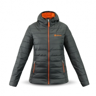 Damen Kapuzenjacke in grau/orange, Größe XS