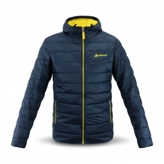 Hooded jacket in navy/yellow, size S
